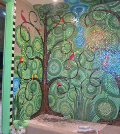 By mosaic artist Frances Green Mosaic Bathroom, Mosaic Diy, Mosaic Crafts, Mosaic Projects, Mosaic Wall, Mosaic Glass, Mosaic Tiles, Wall Tiles, Bathroom Green