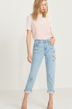 In bloom Cara High Rise Relaxed Skinny Jeans with Embroidery