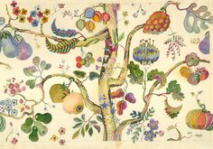 Master drawing of Vegetable Tree designed 1943–44. Josef Frank (1885–1967) paper, pencil, watercolor, gouache
