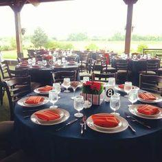 Northbrook Pinstripes dinner set up outside