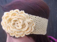 Crochet Flower Headband Cotton Headband by GabysSchaufenster