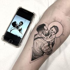 Baby Tattoo For Dads, Tattoos For Baby Boy, Mother And Baby Tattoo, Tattoo For Son, Tattoos For Guys, Tattoos For Your Son, Tattoo Dad, Mama Tattoos, Mom Dad Tattoos