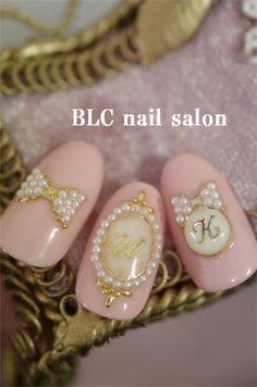 水彩フラワー&透かし柄リボン の画像|新潟市中央区万代ネイルサロン~BLC nail salon