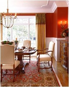 Cozy Red Dining Room Persian Carpet Vintage Tea Room Furniture