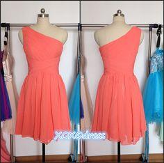 Coral Bridesmaid Dress, Short One-shoulder Coral Chiffon Bridesmaid Dress - Etsy, $79