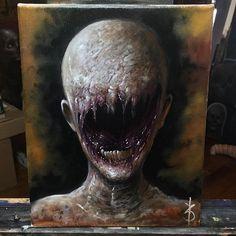 A Pintura Body Dysmorphia by Zack Dunn Creepy Drawings, Creepy Art, Arte Horror, Horror Art, Scary Paintings, Cthulhu, Dark Creatures, Arte Obscura, Dark Artwork