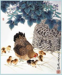 Fang Chuxiong Sumi E Painting, China Painting, Watercolour Painting, Chinese Artwork, Chinese Brush, Chicken Art, Coffee Painting, China Art, Drawing Practice
