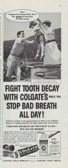 """Description: 1958 COLGATE DENTAL CREAM vintage magazine advertisement """"One Colgate Brushing"""" -- One Colgate Brushing Helps Give The Surest Protection All Day Long! ... Fight tooth decay with Colgate's while you stop bad breath all day! -- Size: The dimensions of the half-page advertisement are approximately 5.25 inches x 13.5 inches (13.25 cm x 34.25 cm). Condition: This original vintage half-page advertisement is in Excellent Condition unless otherwise noted."""