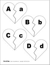 Free Heart Alphabet Matching game and more Valentine printables---perfect for Valentines Day.