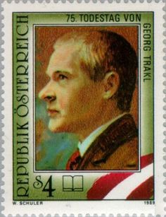 Stamp: Memorial Anniversary of Georg Trakl (Austria) (Writer) Mi:AT 2005 Georg Trakl, Harry Potter Poster, One Decade, Stamp Collecting, Travel Posters, Postage Stamps, Famous People, Austria Travel, Snail Mail