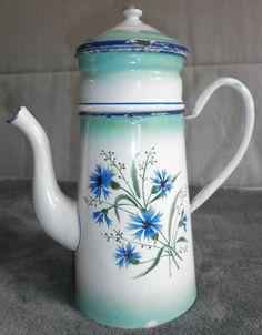 ancienne Cafetière en tôle émaillée fleurie de Bleuets - n°78