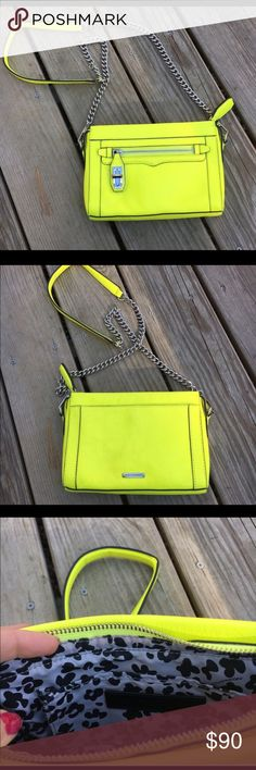 Rebecca Minkoff yellow crossbody Neon yellow Rebecca Minkoff bag.  Only used twice.  Silver chain, can be worn as a crossbody or adjusted for a shoulder bag. Reposh. Rebecca Minkoff Bags Crossbody Bags