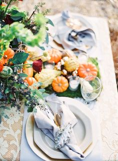 fall place setting with pumpkins