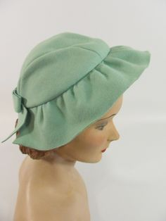 """A sweet, wonderfully lovely mint green hued 1940s felt hat that would be terrific for spring and summer."""