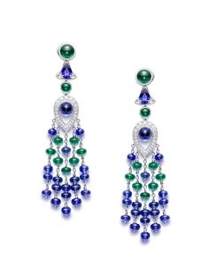 Piaget Earrings in 18K white gold set with 36 blue sapphire beads , 14 emerald beads (, 2 cabochon-cut blue sapphires, 2 cabochon-cut emeralds, 2 pear-shaped blue sapphires and 48 brilliant-cut diamonds.