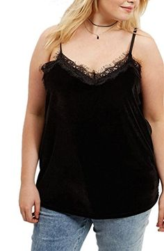 18e036863ce Allbebe Womens Sexy V Neck Lace Edge Velvet Solid bloUSes Vest US 20 Black      Check this awesome product by going to the link at the image.