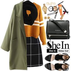 www.shein.com by oshint on Polyvore featuring moda, Givenchy, Lacoste, Wyatt, Chanel, Borghese, amazing, cool, Sheinside and winterfashion