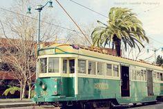 San Francisco Urban City Streetcar Photography - The F-Line - Turquoise Yellow San Francisco California City Travel Photography  (8x10)