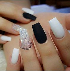 30 Extraordinary Black White Nail Designs Ideas Just For You white nails Coffin Nails Matte, Best Acrylic Nails, Acrylic Nail Designs, Gel Nails, Gel Manicures, Black Matte Acrylic Nails, Matte Nail Art, Acrylic Gel, Nail Nail