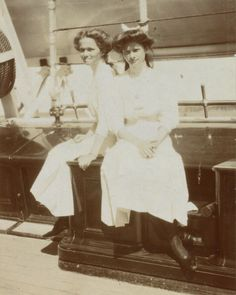 Olga & Tatiana onboard the Standart on a trip to Finland, Summer 1911