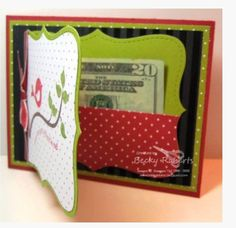 Inking Idaho:- gift card holder with Top Note die Cute Cards, Diy Cards, Holiday Cards, Christmas Cards, Christmas Gift Card Holders, Xmas, Gift Cards Money, Gift Card Cards, Money Holders