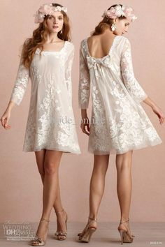 Wholesale Junior Bridesmaid Dresses - Buy Sexy Sheath Chiffon Ivory Knee Length Long Sleeves Square Lace Bridesmaid Dress 2013 New, $99.0 | DHgate