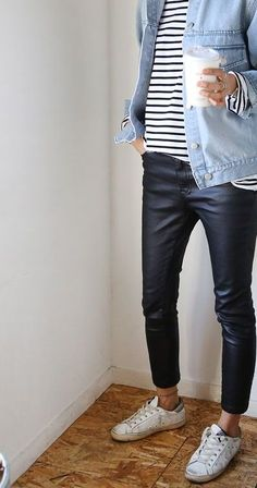 Love the pants even though I'm a little scared of styling leather. Love the striped shirt and jeans shirt.