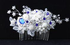 Blue Bridal Hair Comb Wedding Hair Comb Lace by goddessdesignsgems Bridal Comb, Hair Comb Wedding, Blue Bridal, Bridal Hair Accessories, Wedding Hairstyles, Pearls, Lace, Wedding Hair Styles, Racing