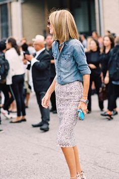 Chambray + patterned pencil skirt
