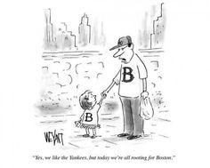 """Molte vignette sui giornali americani sono state dedicate alla tragedia di Boston. Questa del New Yorker, ispirata alla rivalità tra i New York Yankees e i Boston Red Sox nel baseball, ha commosso molte persone: """"Sì, ci piacciono gli Yankees ma oggi tifiamo tutti Red Sox"""""""