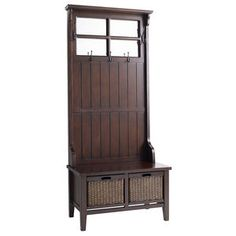 We really need a hall tree! Alcott Hall Tree at Pier 1 Imports. Shoe Storage Bench Entryway, Entryway Furniture, Retro Furniture, Living Furniture, Furniture Ideas, Entry Bench, Storage Hooks, Coat Storage, Hall Bench