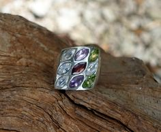 Large Silver Statement Ring, Amethyst, Garnet, Peridot and Cubic Zirconia, Size 7.5,Multistone Cocktail Ring,Trapeze Ring,Vintage Bling Ring by GypsyTraderTreasure on Etsy