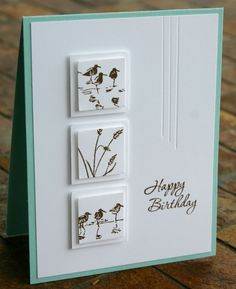 """Stampin' Up! Wetlands for the birds and Memorable Moments (I believe retired) for the sentiment. Smaller squares are 1"""" and 1 1/4""""."""