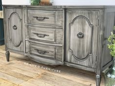 Beautiful buffet painted in General Finishes Driftwood Milk Paint, glazed with Pitch Black Glaze Effects and sealed to protect Painted Furniture, Furniture Design, Furniture Refinishing, General Finishes, Milk Paint, Glaze, Buffet, Woodworking, Grey