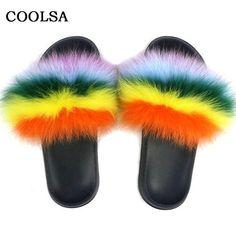 Casual Indoor Flip Flop Fox Fur Slippers