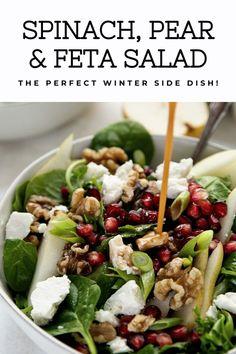 Salad bowl filled with spinach and feta cheese drizzled with balsamic vinaigrett… Salatschüssel gefüllt mit Spinat und Feta mit Balsamico-Vinaigrette beträufelt. Pomegranate Salad, Pear Salad, Pear Walnut Salad, Apple Salad, Feta Salat, Vegetarian Recipes, Healthy Recipes, Spinach And Feta, Spinach Salads