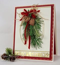 card christmas pine branch pine cone bow ribbon happy HOLIDAY BLOG HOP!