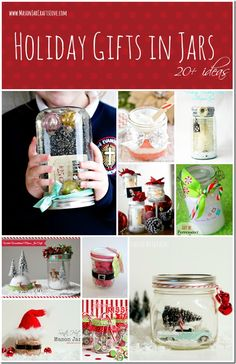 Christmas Mason Jar Craft Ideas. Homemade holiday gifts using mason jars. Mason jar crafts for Christmas. Christmas mason jars.