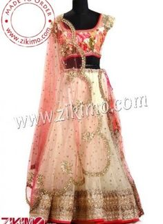 Cream Net Fabric Lehenga With Printed Pink Blouse and Dupatta