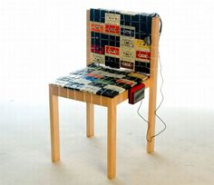 chair with old casset tapes
