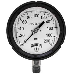 PPC Series 4.5 in. Black Phenolic Case Process Pressure Gauge with 1/2 in. NPT LM and Range of 0-200 psi