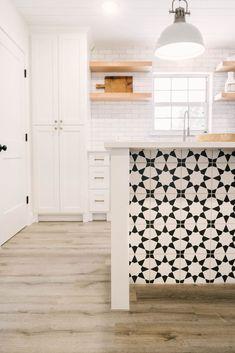 Modern Farmhouse Kitchen - White Shaker Cabinets - 1960's Ranch - White Pendant Lights - Cloe Tile Backsplash - Modern Kitchen Design - Kitchen Renovation - Flip House - Black and White Tile on Island - Moroccan Tile - Cement Tile - Bold Tile - Tile on the Kitchen Island - Statement Tile