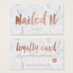 #Nails loyalty modern rose gold typography marble business card - #cosmetologist #makeupartist #makeup #beauty #cosmetics #stylist