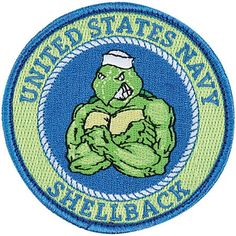 Navy Shellback Patch | Medals of America - 3.25 inches in diameter and features premium embroidery with hook and loop backing for all of our Shellbacks.