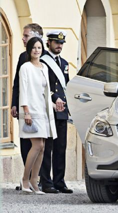 Swedish Prince Carl Philip and his girlfriend Sofia Hellqvist during Princess Leonore's christening at the Drottningholm Palace Church in Stockholm, Sweden, 08.06.2014