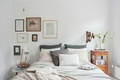 Hang art above your bed to fill the blank space, and add balance to your room. 16 Decor DIYs That Are Cuter And Cheaper Than An Ikea Headboard Home Bedroom, Bedroom Decor, Nordic Bedroom, Calm Bedroom, Serene Bedroom, Bedroom Neutral, Dream Bedroom, Wall Decor, Ikea Headboard