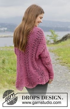 """Knitted DROPS jacket with wave pattern in """"Brushed Alpaca Silk"""". Size: XS - XXL. ~ DROPS Design"""