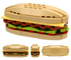 Sculptor Bruce Lowell really likes LEGOs. For a new challenge, Lowell wanted to create what everyday, mundane objects might look like if we lived on LEGO Earth instead. [Via HiConsumption] Lego Design, Building For Kids, Lego Building, Legos, Lego Submarine, Submarine Sandwich, Bloc Lego, Lego Food, Lego Lego