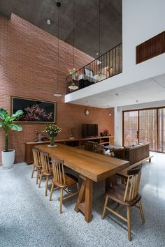 Location: District Ho Chi Minh city Architecture: Tropical Space Co.,Ltd Architects: Nguyen Hai Long, Tran Thi Ngu Ngon, Nguyen Anh Duc, Nguyen Thi. Style Tropical, Modern Tropical House, Tropical House Design, Tropical Interior, Tropical Houses, Architecture Design, Tropical Architecture, Brick Design, Loft Design