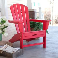 Exclusive! Polywood® Recycled Plastic Big Daddy Adirondack Chair With Pull-out…